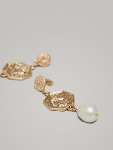 Coin And Pearl Earrings by Massimo Dutti