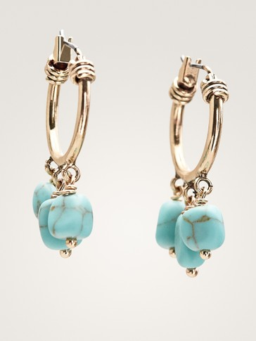 HOOP EARRINGS WITH TURQUOISE STONE