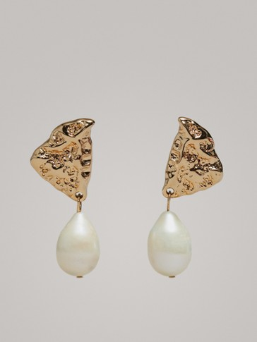Two Piece Pearl Earrings by Massimo Dutti