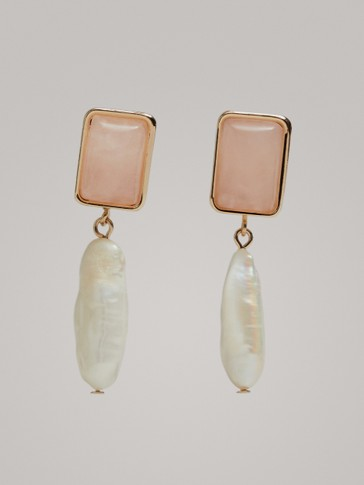 Pearl And Pink Stone Earrings by Massimo Dutti