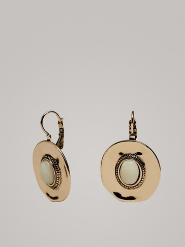 Rounded Stone Earrings by Massimo Dutti