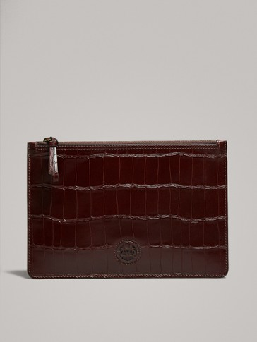 LEATHER PURSE WITH MOCK CROC FINISH