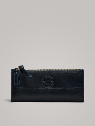 DOUBLE-ZIP MOCK CROC LEATHER WALLET
