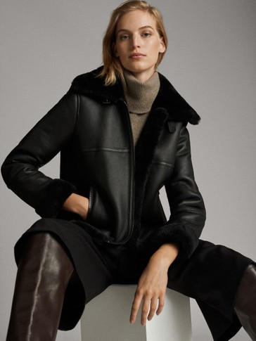 BLACK DOUBLE-FACED MOUTON FUR AVIATOR JACKET