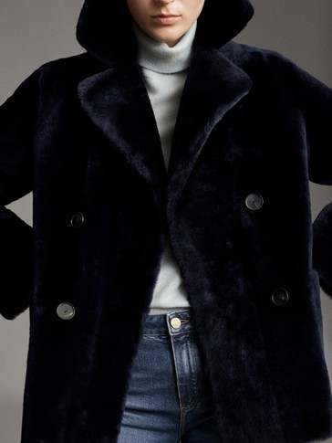 REVERSIBLE NAVY LEATHER MOUTON COAT