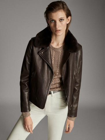NAPPA BIKER JACKET WITH DETACHABLE COLLAR TRIM