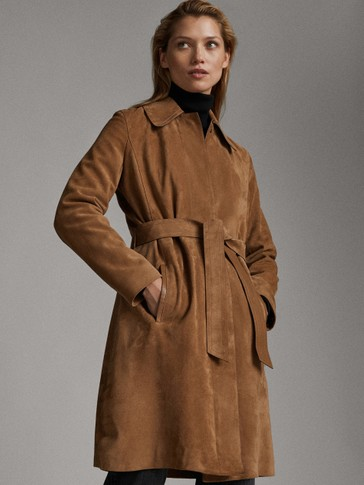 SUEDE TRENCH-STYLE JACKET WITH BELT