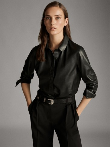 Black Nappa Leather Shirt by Massimo Dutti