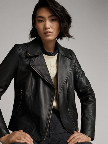 BLACK NAPPA LEATHER BIKER JACKET WITH ZIPS