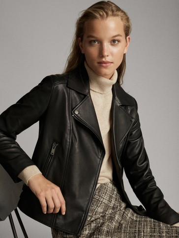 BLACK NAPPA BIKER JACKET WITH TOPSTITCHING
