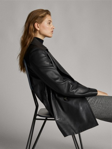 BLACK NAPPA LEATHER TRENCH COAT
