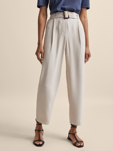 BEIGE DARTED TROUSERS WITH BUCKLE