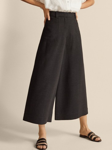 ASIAN FIT BLACK CULOTTES WITH POCKETS