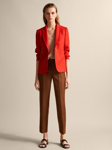 STRAIGHT FIT CROPPED TROUSERS
