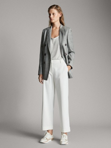 STRAIGHT FIT PLAIN TROUSERS