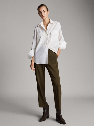STRAIGHT FIT CREPE TROUSERS
