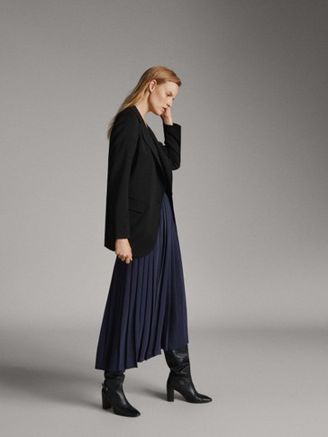PETITE FIT PLEATED NAVY BLUE TROUSERS