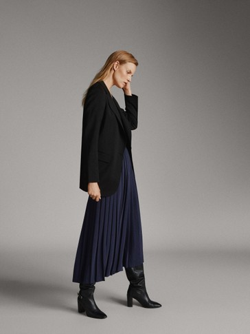 PLEATED NAVY BLUE PALAZZO TROUSERS