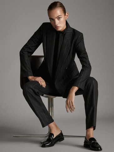 STRAIGHT FIT BLACK PINSTRIPE TROUSERS