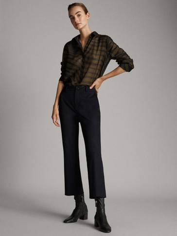 HIGH-WAIST FLARED TROUSERS