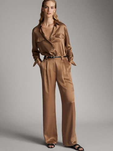 ASIAN FIT. SATIN-FINISH CUPRO TROUSERS WITH DARTS