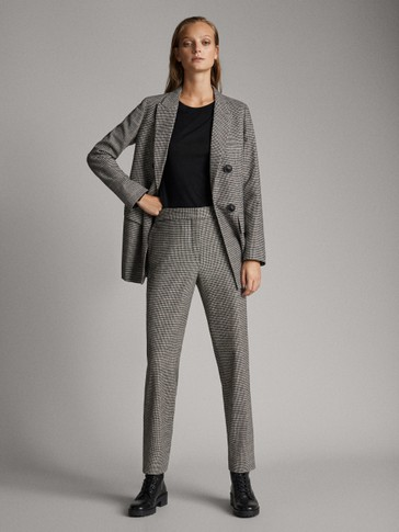 WOOL CHECK TROUSERS