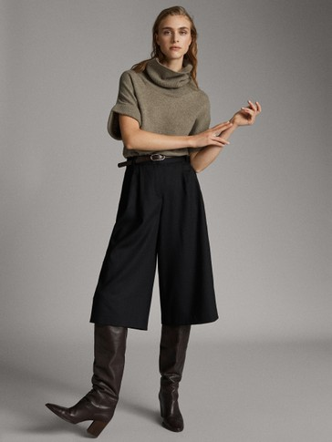 BLACK WOOL CULOTTES