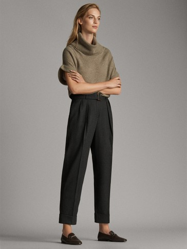 100% WOOL FLANNEL TROUSERS WITH BUCKLE