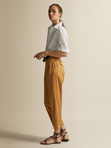 SATIN-FINISH CUPRO TROUSERS