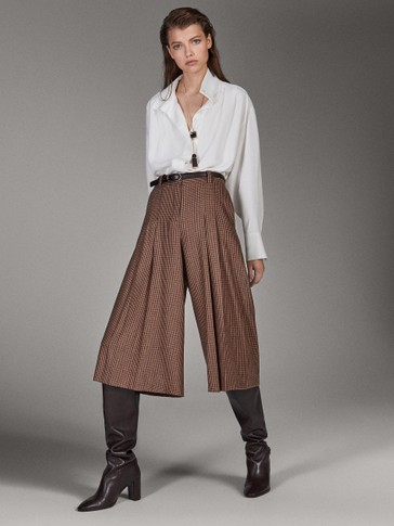 WOOL CHECK CULOTTE FIT TROUSERS