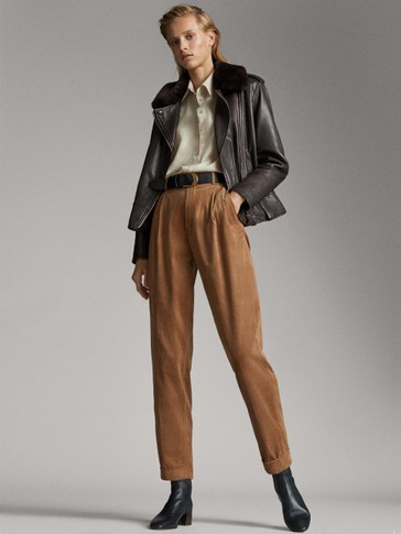 DARTED NEEDLECORD TROUSERS