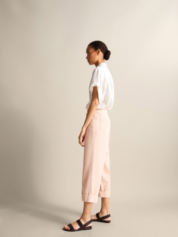 LOOSE-FITTING TWILL TROUSERS WITH TURN-UP HEMS
