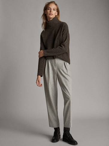 HEATHERED KNIT WOOL TROUSERS