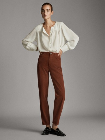 TEXTURED STRAIGHT FIT COTTON TROUSERS