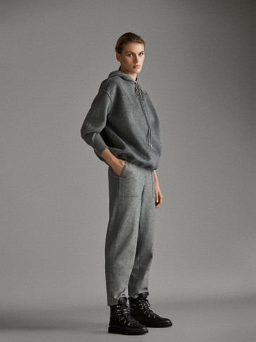 Straight Fit Wool AprÈs Ski Trousers by Massimo Dutti