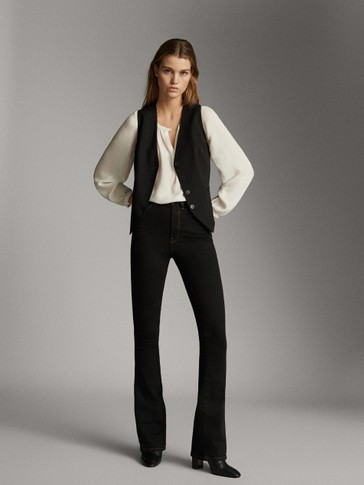 BLACK HIGH-RISE FLARED TROUSERS