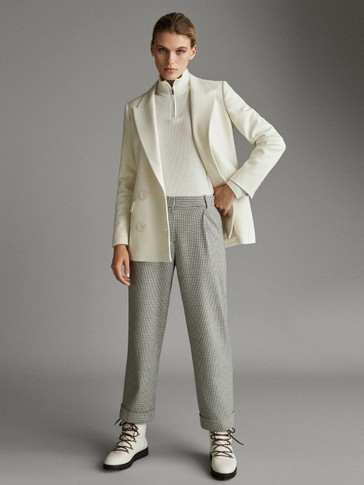 ASIAN FIT. SLIM FIT HOUNDSTOOTH TROUSERS