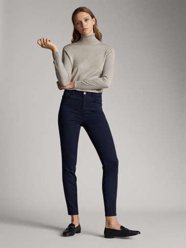 PANTALONI RASO HIGH RISE SKINNY FIT