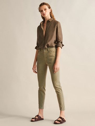 TWILL MID RISE SKINNY TROUSERS WITH TOPSTITCHING