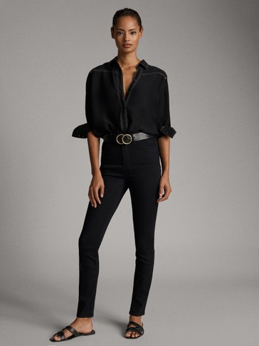 BLACK HIGH-WAIST SKINNY DENIM-LIKE TROUSERS