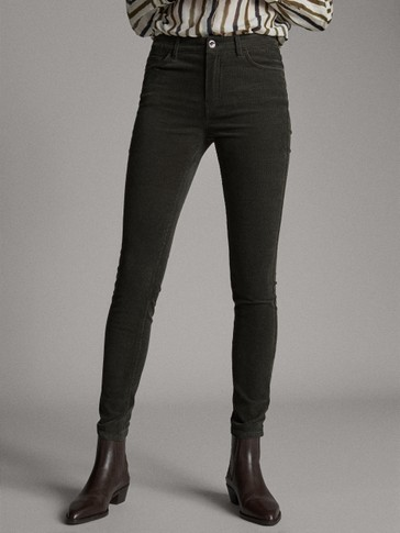 MID-WAIST SKINNY NEEDLECORD TROUSERS