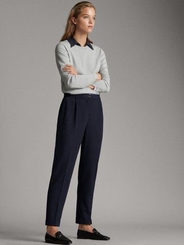 NAVY HERRINGBONE BAGGY TROUSERS