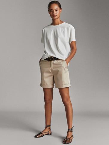 COTTON BERMUDA SHORTS WITH TURN-UP HEM