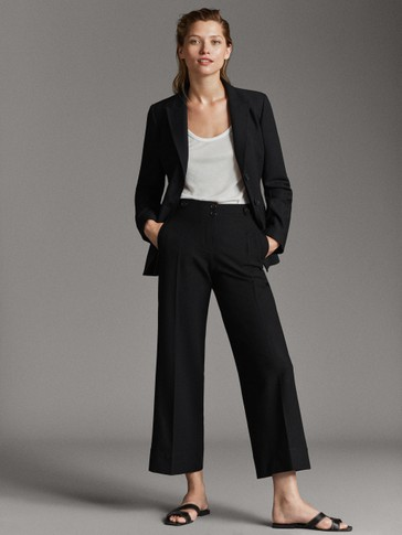 BLACK CROPPED FIT TROUSERS