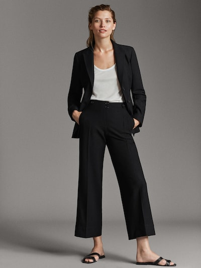 bright in luster special discount of most reliable BLACK CROPPED FIT TROUSERS