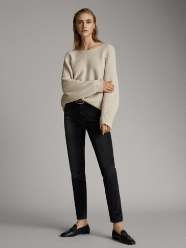 FADED NEEDLECORD MID RISE SKINNY TROUSERS