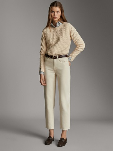 MID RISE STRAIGHT FIT COTTON AND LYOCELL TROUSERS
