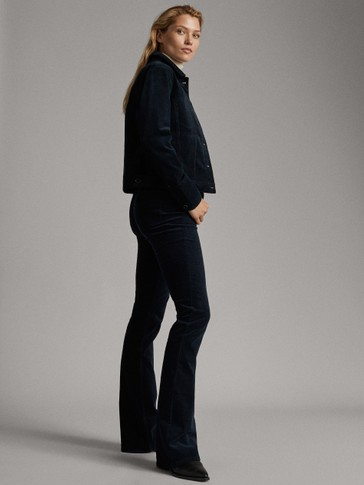 HIGH-RISE FLARED NEEDLECORD TROUSERS