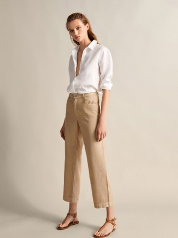 MID RISE STRAIGHT FIT PLAIN LINEN AND COTTON TROUSERS