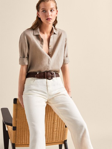 STRAIGHT FIT PLAIN LINEN AND COTTON TROUSERS